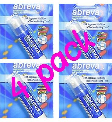 4 PACK ***  Abreva Cold Sore/Fever Blister Treatment Pump - 0.07 oz, Pack of 4