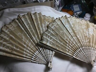 2 BEAUTIFUL VICTORIAN  HAND PAINTED, almost RAISED PAINT FANS LATE 1800s,  LOOK