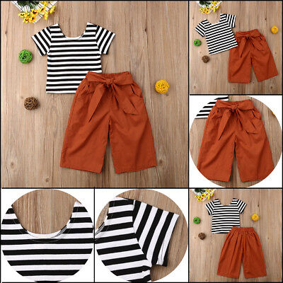 2pcs Newborn Toddler Infant Baby Girls Clothes T-shirt Stripe Tops+Pants Outfits