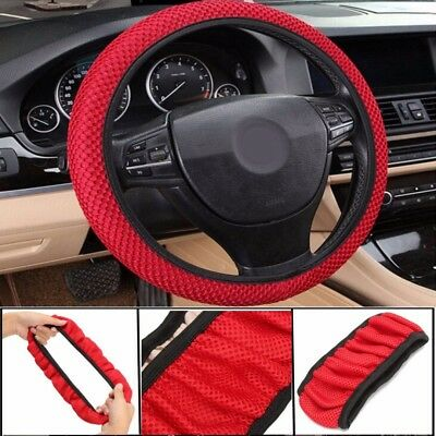 Car Truck Cotton Steering Wheel Cover Red Protector 38cm Breathable Non-Slip