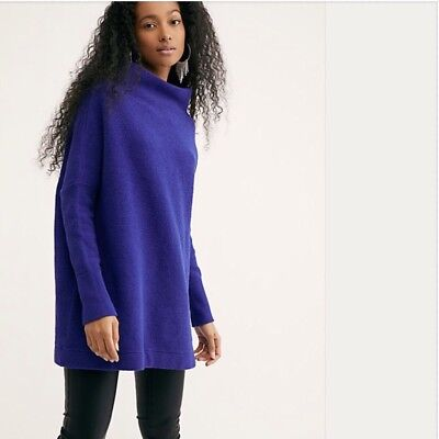 f427c942c98 NWT FREE PEOPLE Ottoman Slouchy Tunic Sweater Blue LARGE L $148 OB432957 New