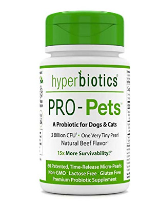 Hyperbiotics PRO-Pets - A Probiotic for Dogs & Cats - 60 Micro-Pearls - Natural