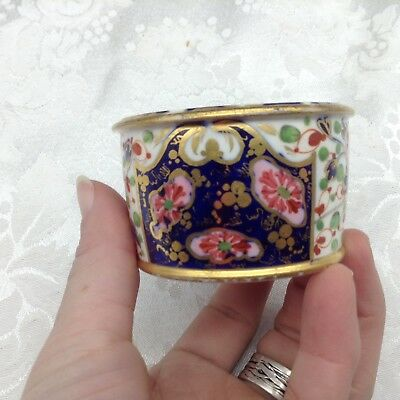 Royal Crown Derby Imari Style Cobalt Blue Flowers Gold Hand Painted Inkwell