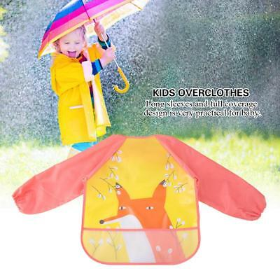 Cute Baby Kids Waterproof Long Sleeve Bibs Apron Cartoon Feed Smock Lightweight