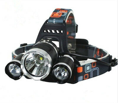 Lumens 3 x XML CREE T6 LED Rechargeable Head Torch Headlamp Lamp Light 6000 LM