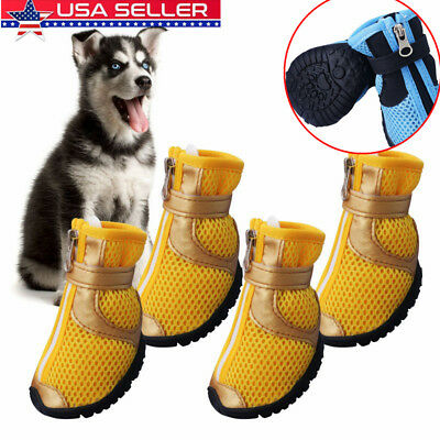 Small Large Pet Dog Shoes Anti-slip Mesh Boots Booties Snow Rain Reflective 4pcs
