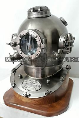 Antique Boston Diving Helmet Mark V Deep Sea Divers Helmet Vintage Scuba W/base