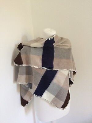 River Island Girls Soft Cape Beige Check Size 3-7 Years