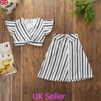 UK Toddler Kids Baby Girls Stripe Crop Tops Skirt Dress 2Pcs Outfits Clothes Set