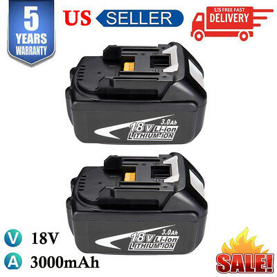 2x For Makita BL1840 BL1830 LXT400 194205-3 18V 3.0Ah Lithium-Ion Battery BL1845