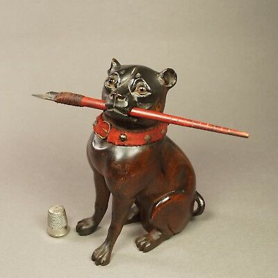 19th Century Black Forest Figural Inkwell Pug Dog Circa 1880s