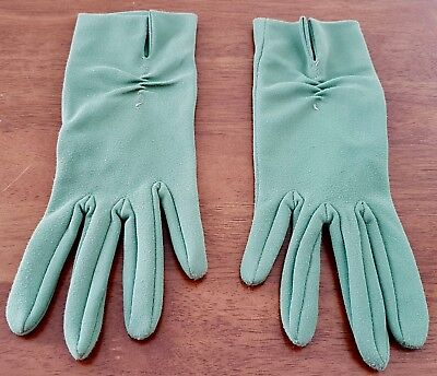 Vintage 60s COLLINS Australian Made OLIVE GREEN Mid Length Day GLOVES size 6.5