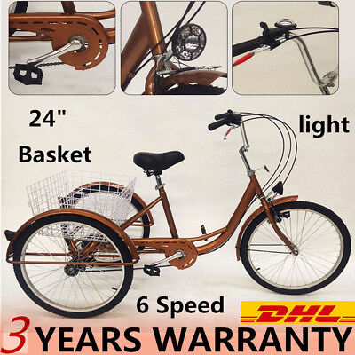 "Trike Adulte 6 vitesses 24 ""Tricycle Bicycle de vélo adulte Tricycle panier+Lamp"