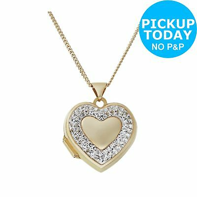 Moon & Back 9ct Gold Plated Silver Crystal Heart Locket