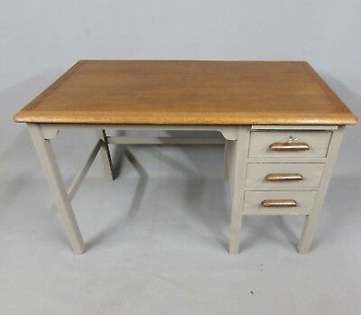 Vintage Painted And Waxed Clerks / Teachers Desk With Oak Top