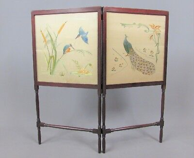 Antique Mahogany Fire Screen With Jacobite Style Embroider On Two Front Screens