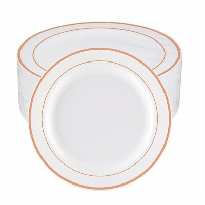 WDF 60pcs Disposable Plastic Plates-10.25inch Dinner Plates- Rose Gold Trim Real