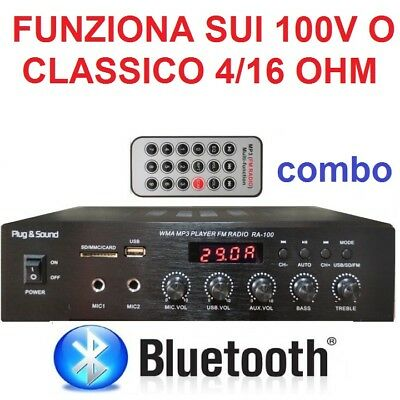 AMPLIFICATORE STEREO COMBO 100V / 4-16 Ohm 400W BLUETOOTH + DISPLAY + USB casse