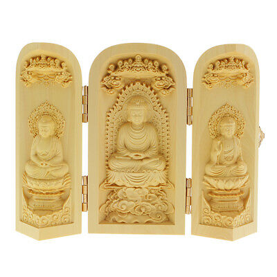 3 Carved Buddha Figurine Buddhism Statue Box Carry Curve Wood Crafts