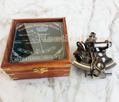 Kelvin & Hughes Antique Maritime Sextant Nautical Brass Sextant With Wooden Box
