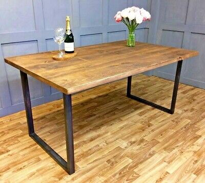 Reclaimed Industrial Vintage Square Frame Dining Table Rustic Farmhouse Style