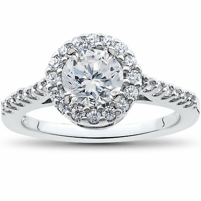 1 1/2ct Halo Diamond Solitaire Engagement Ring Round Cut 14k White Gold Enhanced