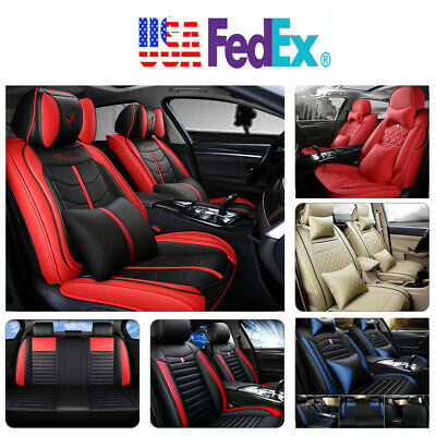 PU Leather 100% Car Seat Cover 5-Seat SUV Cushions Front & Rear Set W/Pillows US