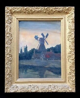 Windmill - Countryside Landscape Painting - late 19th or early 20th century