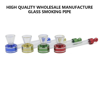 1PC Portable Glass Aluminum Transparent Smoking Pipe Tobacco Herb Pipes New 2019