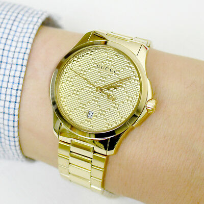 0f609b087a4755 GUCCI YA126461 G-Timeless 38mm Gold-Tone Stainless Steel Bracelet Unisex  Watch