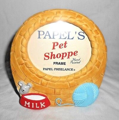 Picture Frame Kitty Basket Papel's Pet Shoppe Hand Painted