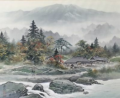 Antique Japanese Original Watercolor Landscape Painting On Silk.signed & Sealed