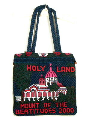 Holy Land Mount of the Beatitudes 2000 Tote Bag Tapestry Drawstring Israel Made