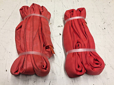 Red Endless Round Slings-Lot of 2 (1) 4Ft & (1) 6Ft Unitex-New