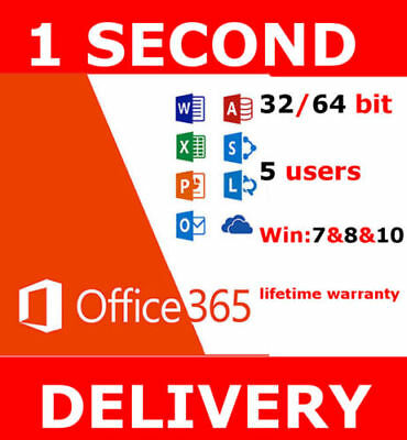 Microsoft Office 365 Lifetime License - 5 Users - Windows Mac Mobile