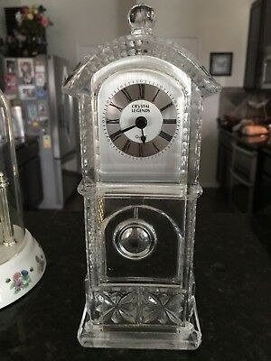 Crystal Legends By Godinger Quartz Desk Grandfather Clock West Germany