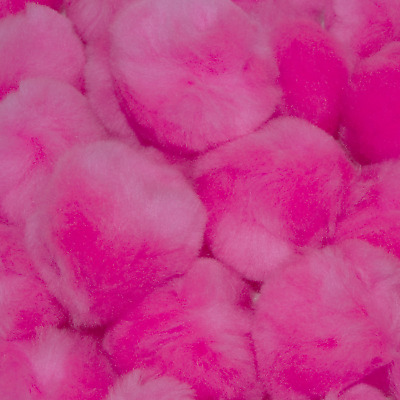 1 inch Pink Small Craft Pom Poms 100 Pieces
