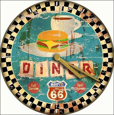 NOVELTY WALL CLOCK - 50's American Diner Route 66 Design (1) - Retro Wall Clock