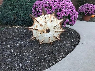 Vintage Antique Garden Cultivator Shield Decor Farm Art Repurposed Metal Old