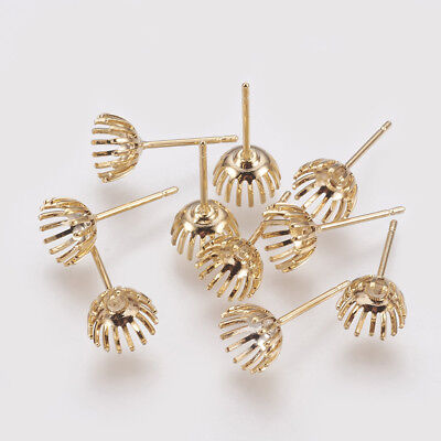 10PCS Brass Stud Earring Components DIY Earring Jewelry Making Real Gold Plated