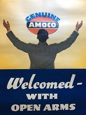 Amoco Gas Oil Sign Original Poster On Linen Backing