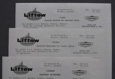 Orig 1964 Cushman Off-Road Road Gas & Electric Truckster Dealer Price List Lot/3