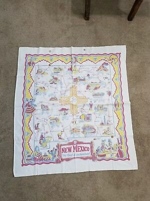 New Mexico Vintage State Map Linen Tablecloth