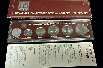 1974 Coins of ISRAEL Official Mint Set - 26th Anniversary