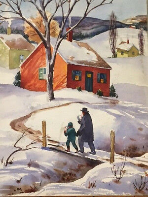 """""""Delivering Christmas Presents"""" Henry Gasser Watercolor Listed"""