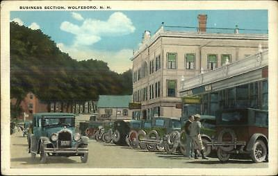 Wolfeboro NH Cars Street Scene Business Section c1920 Postcard