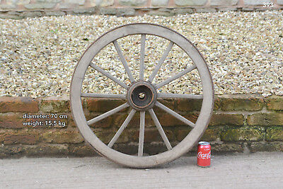 Vintage old wooden cart wagon wheel  / 70 cm FREE DELIVERY