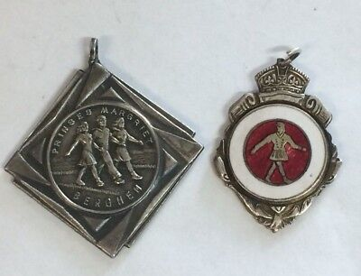 2 Marching Girl Medal Badges One Foreign, One Australian Kings Crown