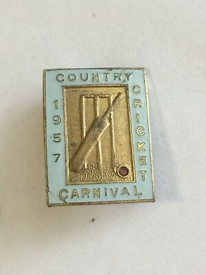 1957 Country Cricket Carnival Badge Pin Adelaide
