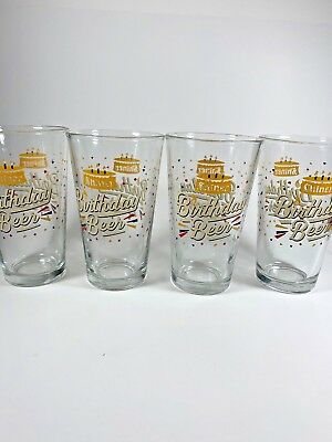 Spoetzl Brewery Shiner  Birthday Beer Pint Glasses  Set of 4 Collectible Rare